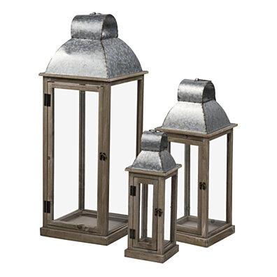 3-Piece Wooden Lanterns