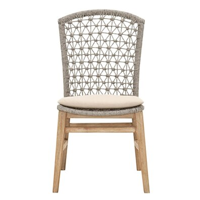 Wooden Dining Armless Chair With Rope Work, Brown and Light Gray, Set of 2