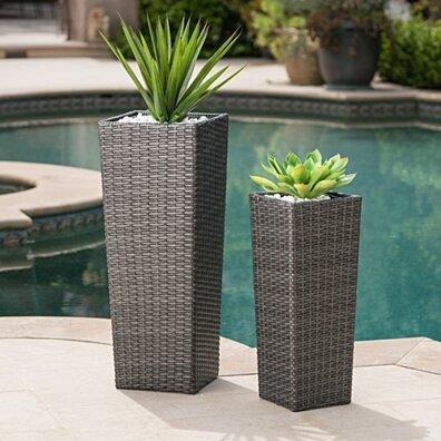 Eden Outdoor Wicker Flower Pots (Set of 2)