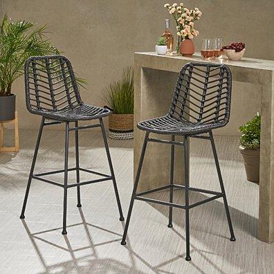 Jessie Outdoor Wicker Barstools (Set of 2)