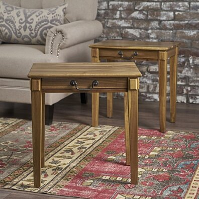 Orson Classic Natural Stained Acacia Wood Accent Table (Set of 2)