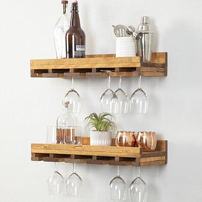 Rustic Luxe Stemware Shelves, Set of 2