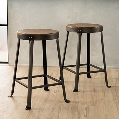 Camden 24-Inch Brown Weathered Wood Counter Stool (Set of 2)