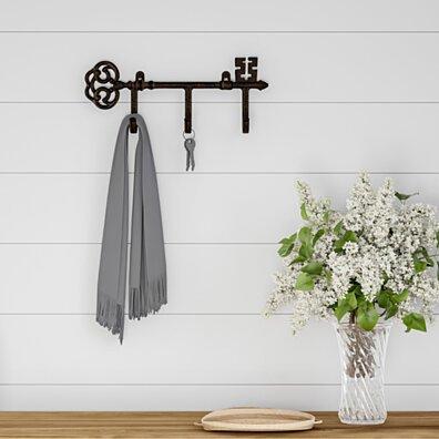 Decorative Skeleton Key Design Hooks-3-Pronged Cast Iron Shabby Chic Rustic Wall Mount Hooks
