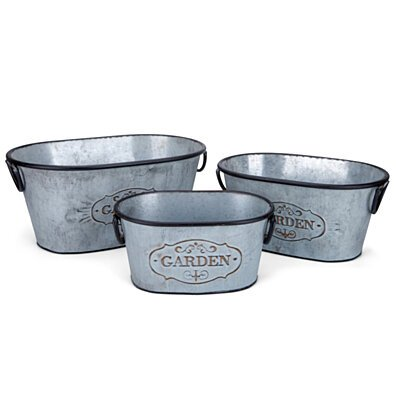 Galvanized Planters with handles Set of 3 Silver