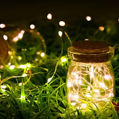 Mini Fiery 100 Lights Shine Like Firebugs With Solar Power