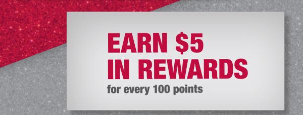 Earn $5 in rewards for every 100 points