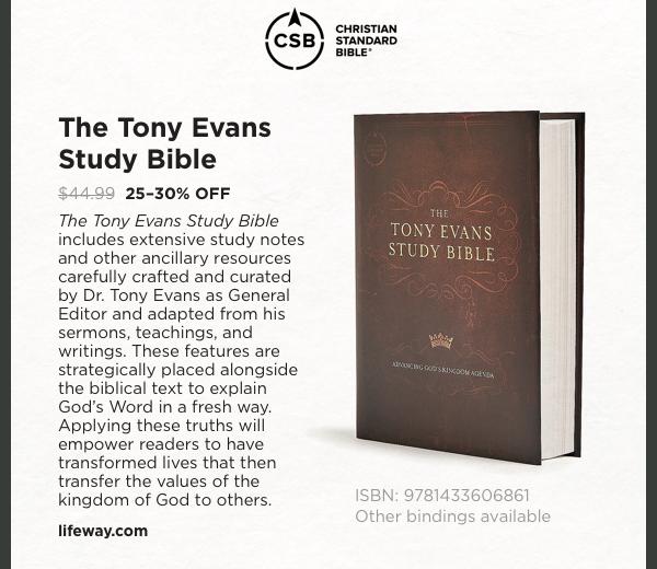 The Tony Evans Study Bible: 25-30% OFF
