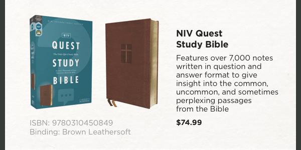 NIV Quest Study Bible - $74.99
