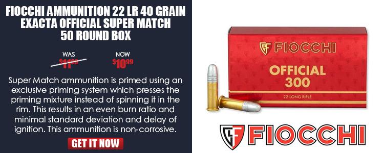 Fiocchi 22LR 40gr Exacta Official Super Match  Box of 50- 980FPS