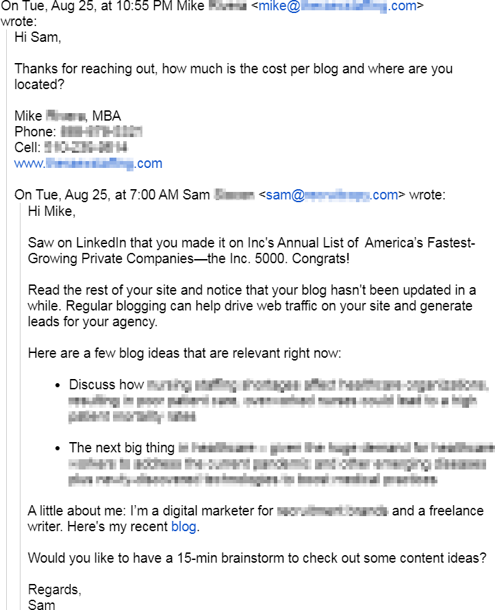 Prospect replied after Sam used one of my cold email templates