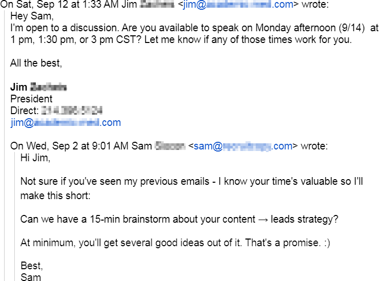 Prospect agreed to a call after Sam used one of my follow up templates