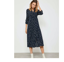 Navy Spotted Shirt Midi Dress