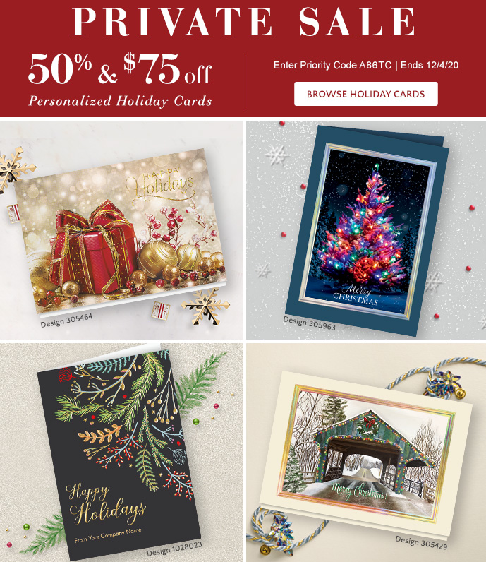 Private Sale! 50% & $75 off thru 12/4 - use Priority Code A86TC