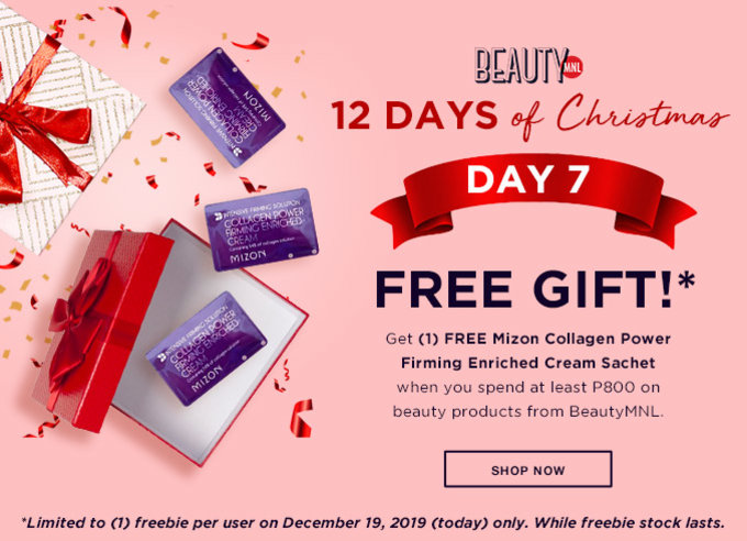 12 DAYS OF CHRISTMAS | DAY 7 | FREE GIFT | Get (1) FREE* Mizon Collagen Power Firming Enriched Cream Sachet when you spend at least P800 on beauty products from BeautyMNL | SHOP NOW >>