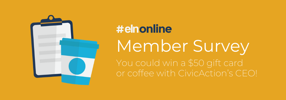"Yellow background with illustration of a clipboard and a coffee cup, text in white that reads ""#ELNonline: Member Survey"""