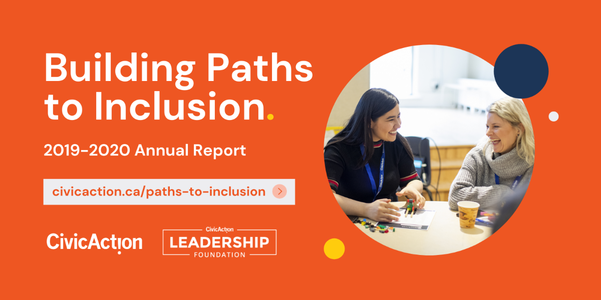 "Red background with circle accents and an image of two people laughing. Text in white reads, ""Building Paths to Inclusion. 2019-2020 Annual Report"""