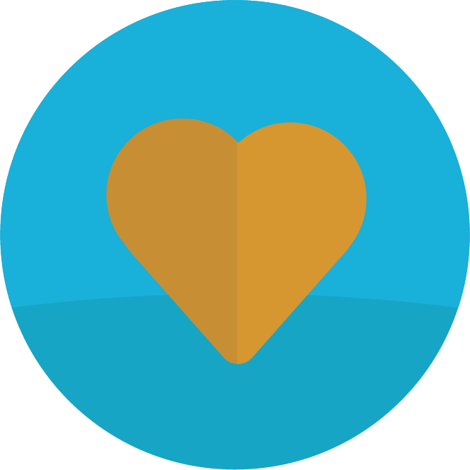 Blue circle with an illustration of a heart.