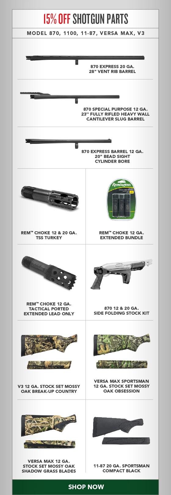 15% OFF All Shotgun Parts