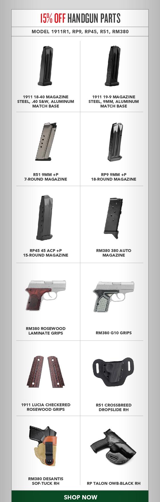 15% OFF All Handgun Parts