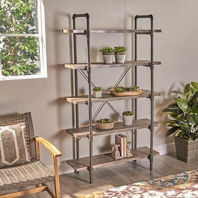 Clint Industrial 5 Shelf Faux Wood Bookcase