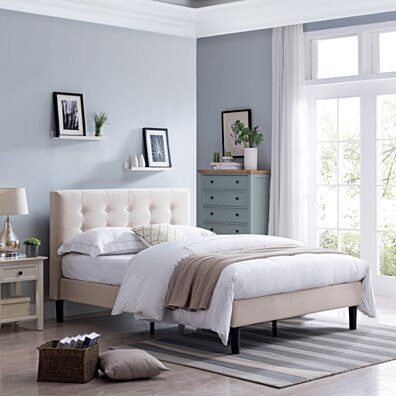 Gloria Fully-Upholstered Queen-Size Platform Bed Frame, Modern, Contemporary, Low-Profile