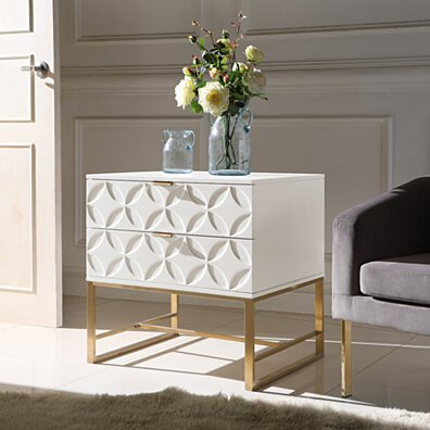 Lyon Nightstand Side Table with 2 Self Closing Lacquer Drawers Brass Finished Stainless Steel Frame Base
