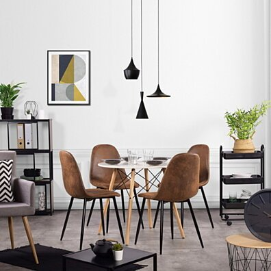 Scandinavian Dining Chairs Side Chair Suede PU seat (Set of 4)