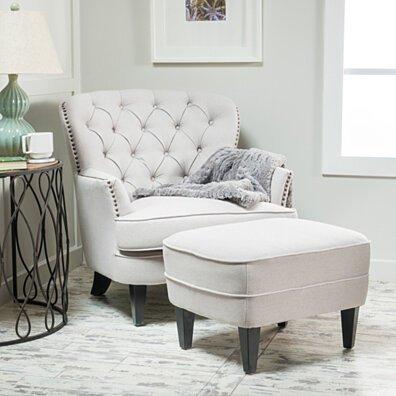 Teton Fabric Club Chair and Ottoman