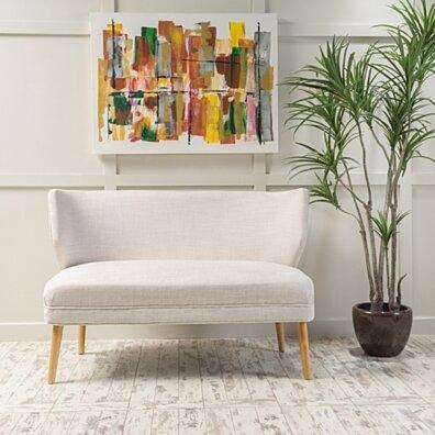 Dumont Mid Century Modern Fabric Loveseat Sofa Settee