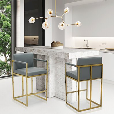 Gertrude Bar Stool or Counter Stool Chair PU Leather Upholstered Square Arm Design Architectural Goldtone Solid Metal Base