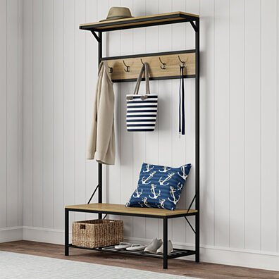 Entryway Storage Bench- Metal Hall Tree with Seat, Coat Hooks and Shoe Storage