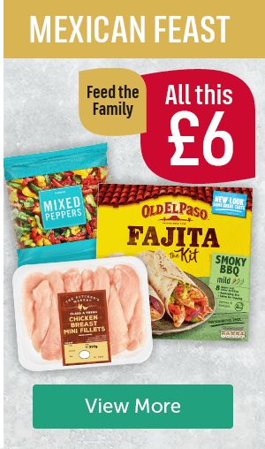 Mexican Feast. All this � feed the family. Iceland mixed peppers, Old El Paso fajita kit, The Butchers Market Chicken Breast Mini Fillets View More