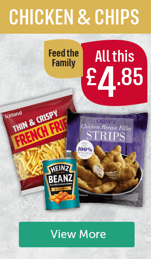 Chicken & chips. All this �85 feed the family. Iceland thin & crispy french fries, Heinz baked beans, Iceland Crispy Chicken Breast Fillets. View More