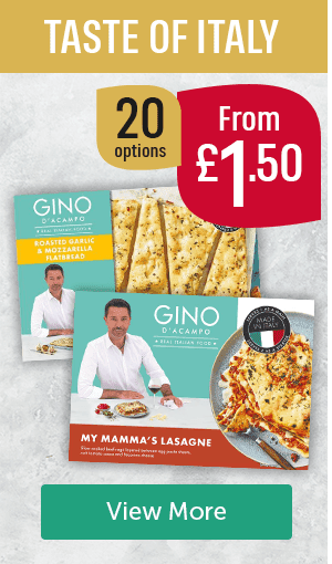 Taste of Italy. 20 options from �50. Gino roasted garlic & mozzarella flatbread, Gino my mama's lasagne View More