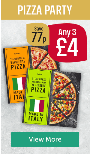 Pizza Party. Any 3 �Save 77p. Iceland stonebaked margherita pizza, Iceland stonebaked Mediterranean vegetable pizza. Made in Italy. View More