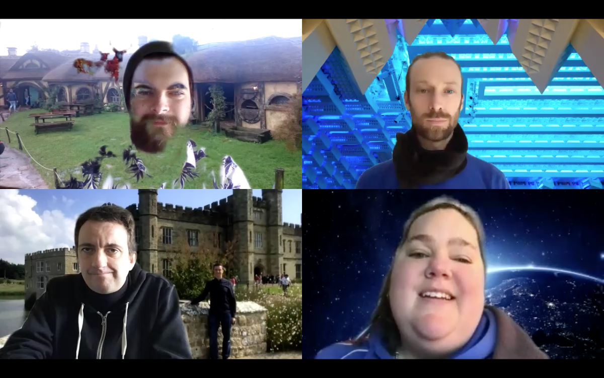 A screenshot of a Zoom video conferencing session with four people.