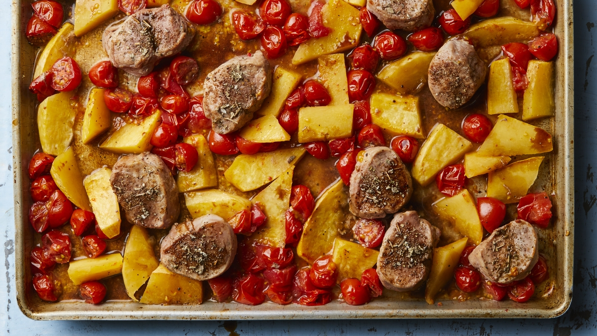 Sheet-pan pork and cherry tomatoes