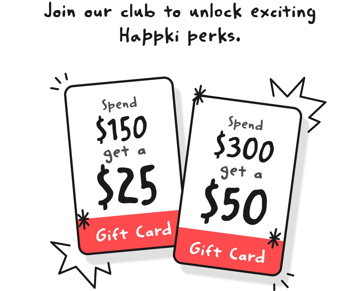 Happki December promotion - Spend $150 and get a $25 gift card