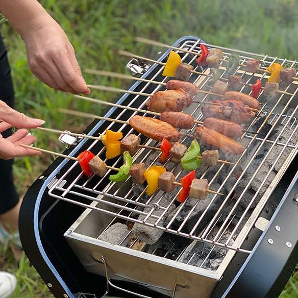 Portable Foldable Charcoal Grill Stainless Steel Material 63 x 12 x 43.4cm