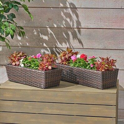 Priscilla Wicker Planters, Multi Brown Finish (Set of 2)