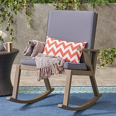 Brent Outdoor Acacia Wood Rocking Chair