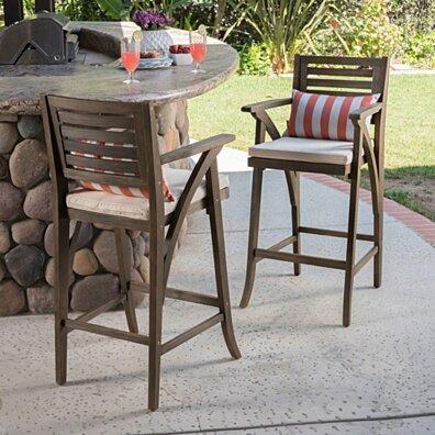 Joye Outdoor Acacia Wood Barstool (Set of 2), Grey with Cream Cushion