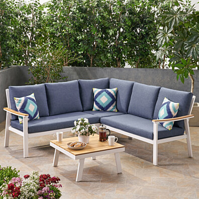 Madison Outdoor Aluminum Sofa Sectional with Faux Wood Accents and Cushions
