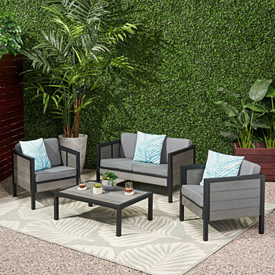 McKinley Outdoor 4 Seater Chat Set with Cushions