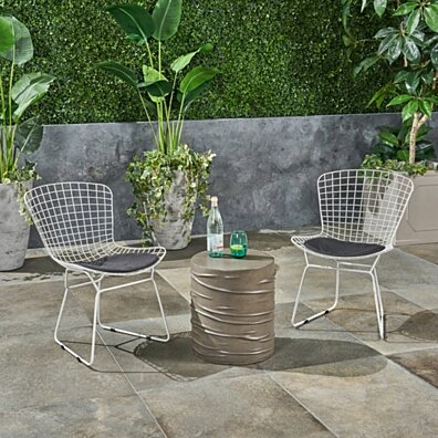 Anessa Outdoor 3 Piece Iron and Light Weight Concrete Chat Set, Black and Light Gray