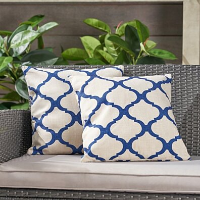 Isia Outdoor 18-inch Water Resistant Square Pillows, Blue on Beige