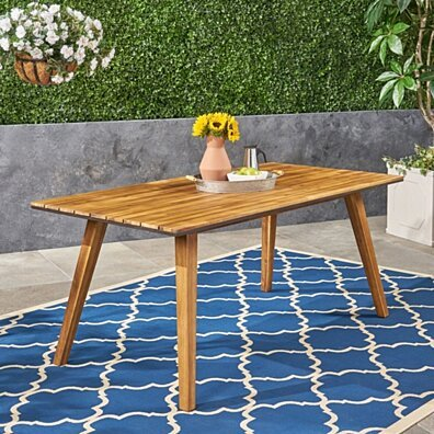 Paul Outdoor 71-inch Acacia Wood Dining Table, Teak Finish