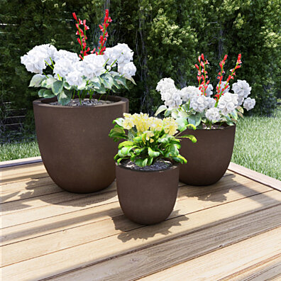 Set of 3 Large Fiber Clay Planters Antique Brown Weather Resistant Modern Round Outdoor Potting and Replanting Pots