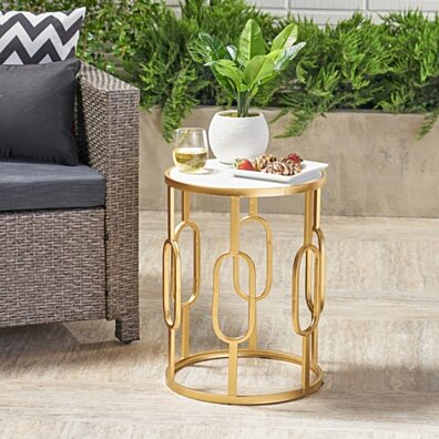 Tammy Outdoor 16 Inch White Finish Faux Stone Side Table